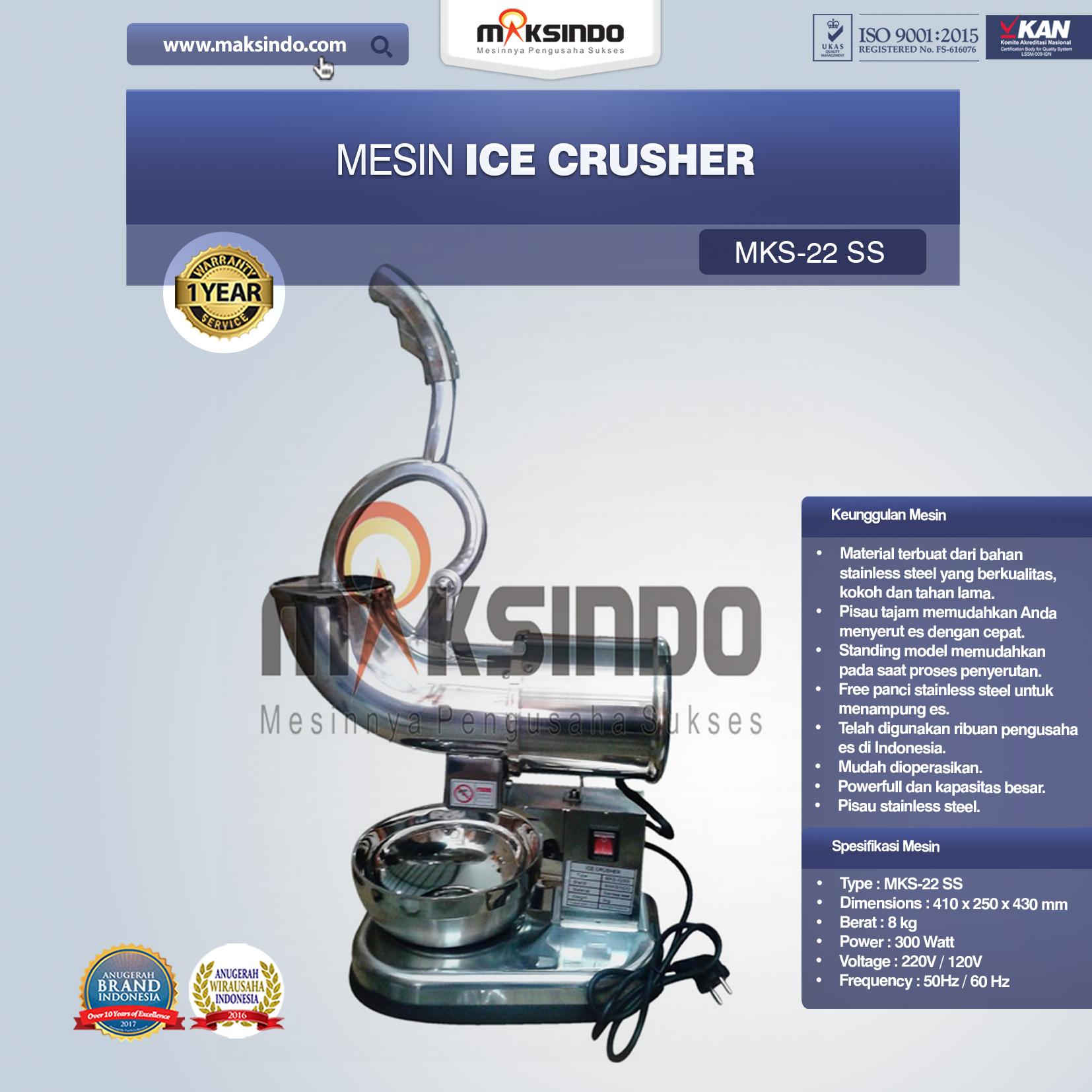 Jual Mesin Ice Crusher (MKS-22SS) di Mataram