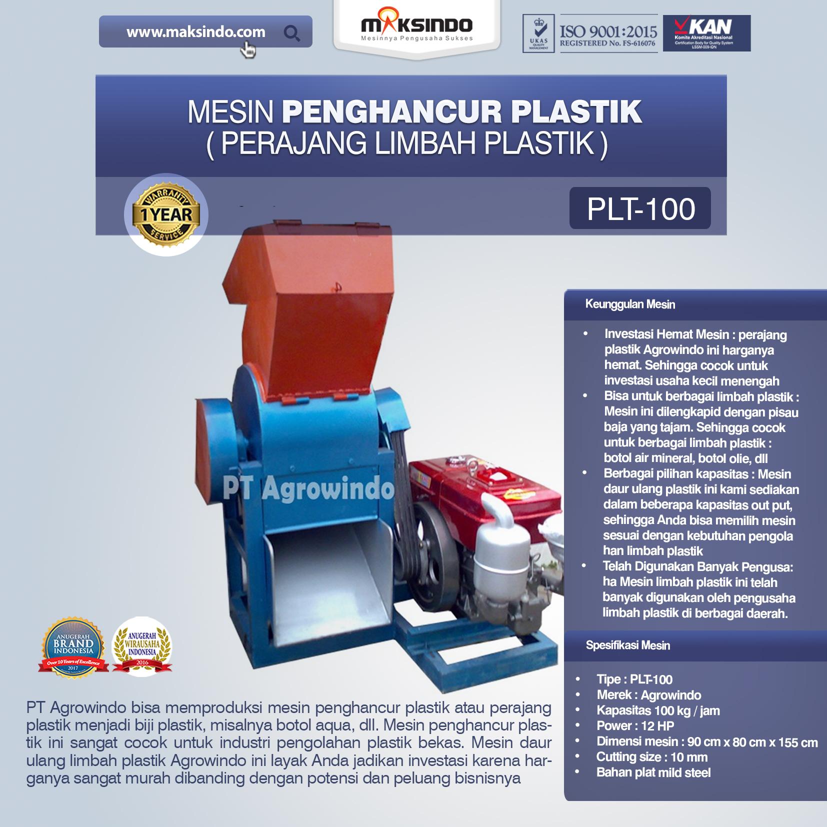 Jual Mesin Penghancur Plastik (Perajang Limbah Plastik) di Mataram