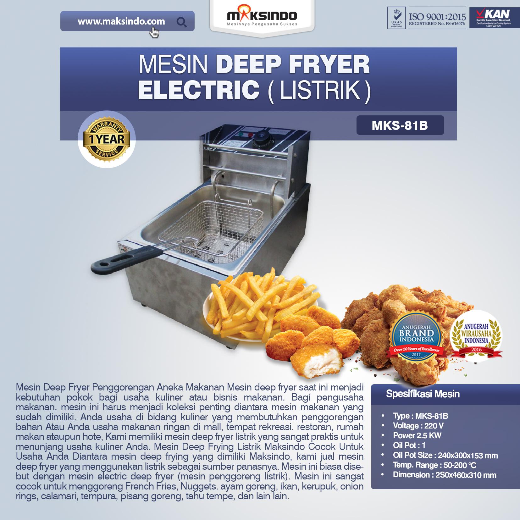 Jual Mesin Deep Fryer Listrik MKS-81B di Mataram