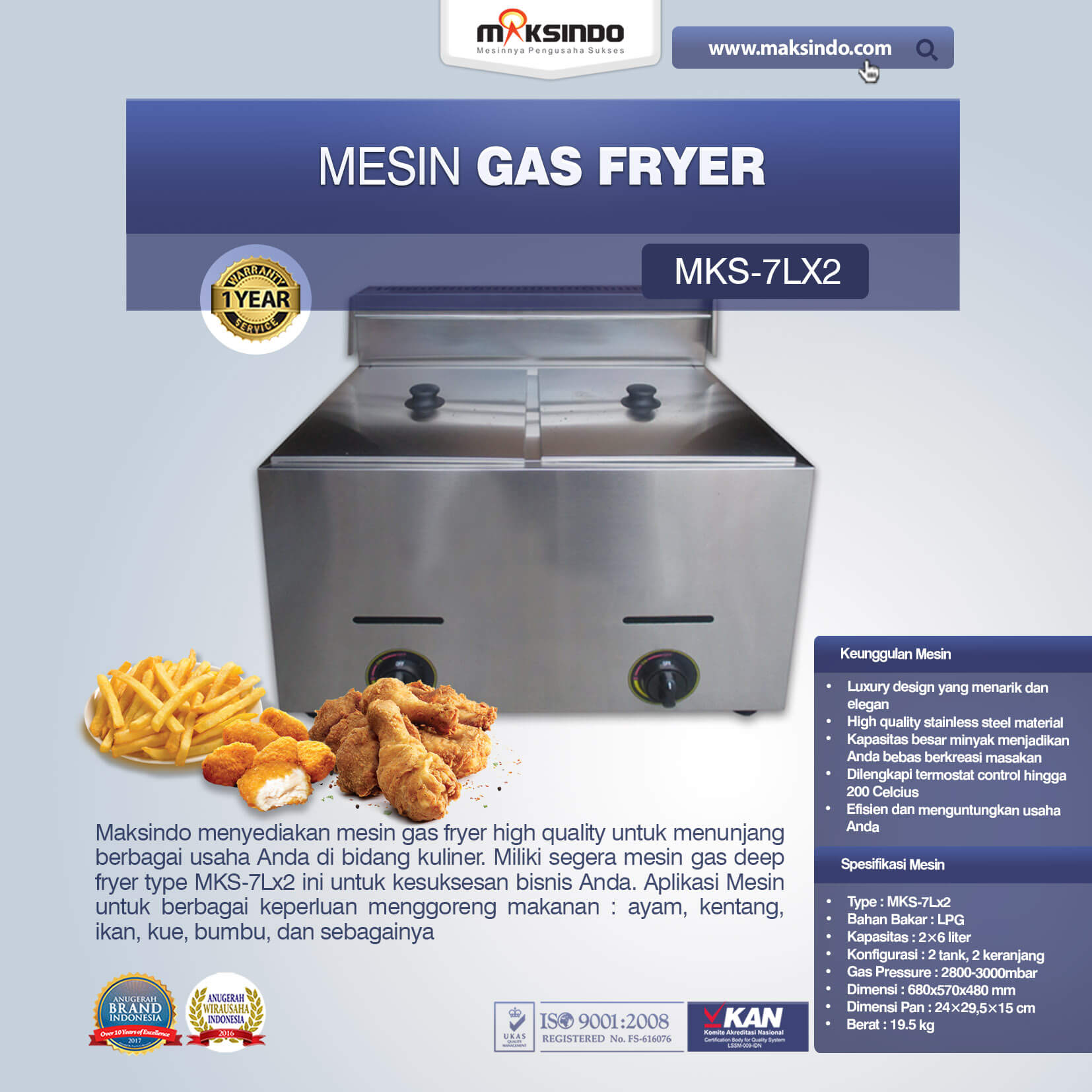 Mesin Gas Fryer MKS 7Lx2 1
