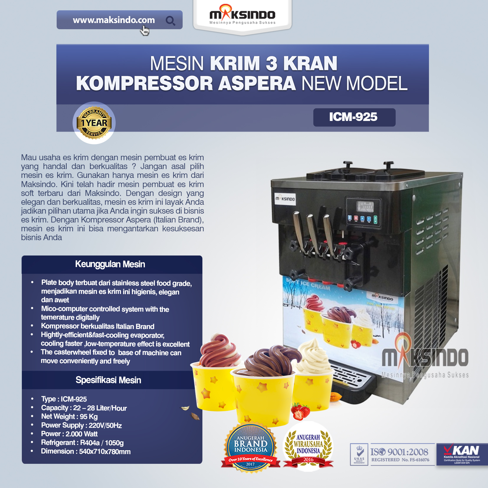 Mesin Krim 3 Kran Kompressor Aspera NEW MODEL ICM 9251