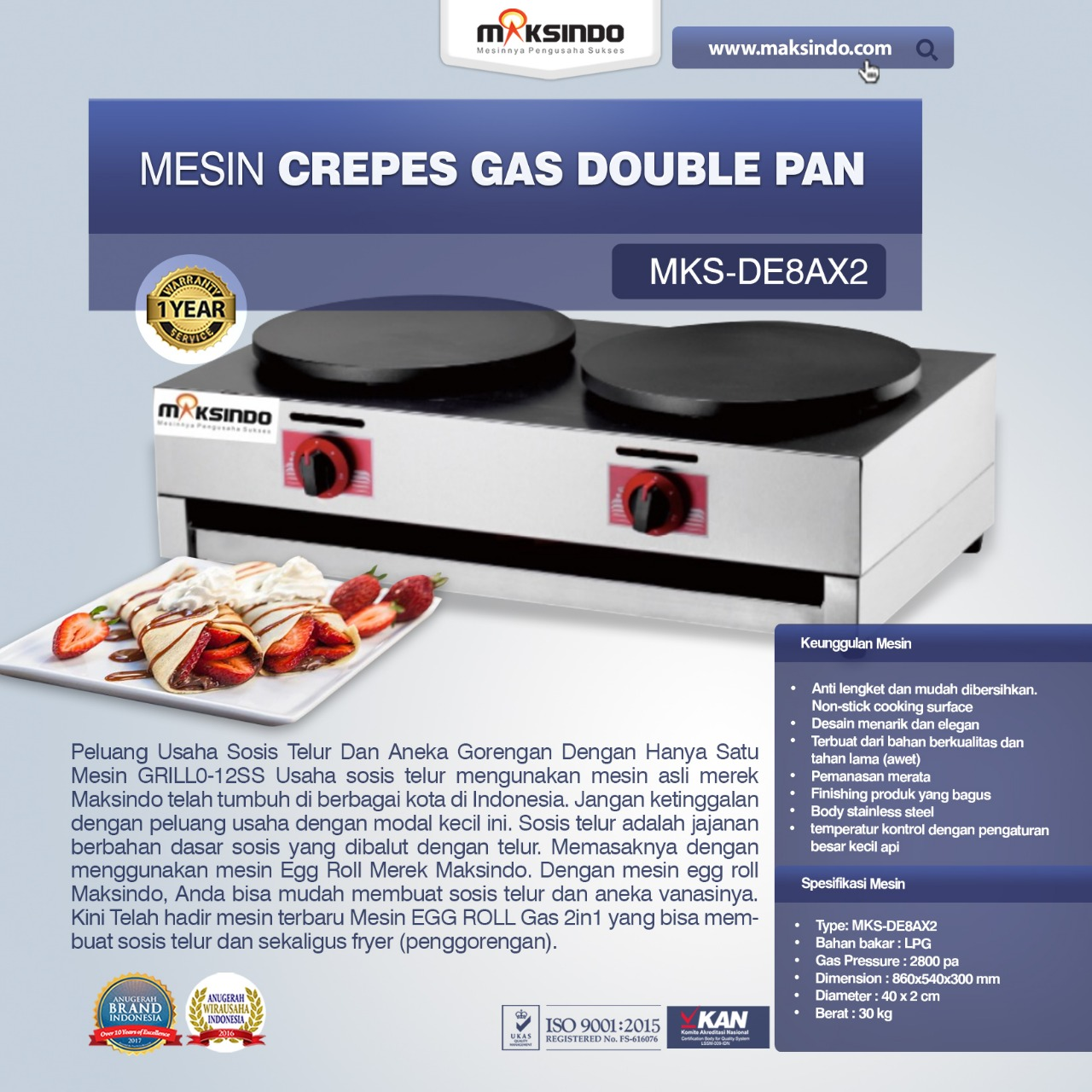 Jual Mesin Crepes Gas Double Pan (DE8Ax2) di Mataram