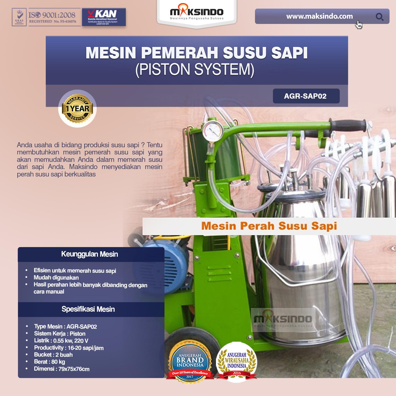 Jual Mesin Pemerah Susu Sapi – AGR-SAP02 di Mataram