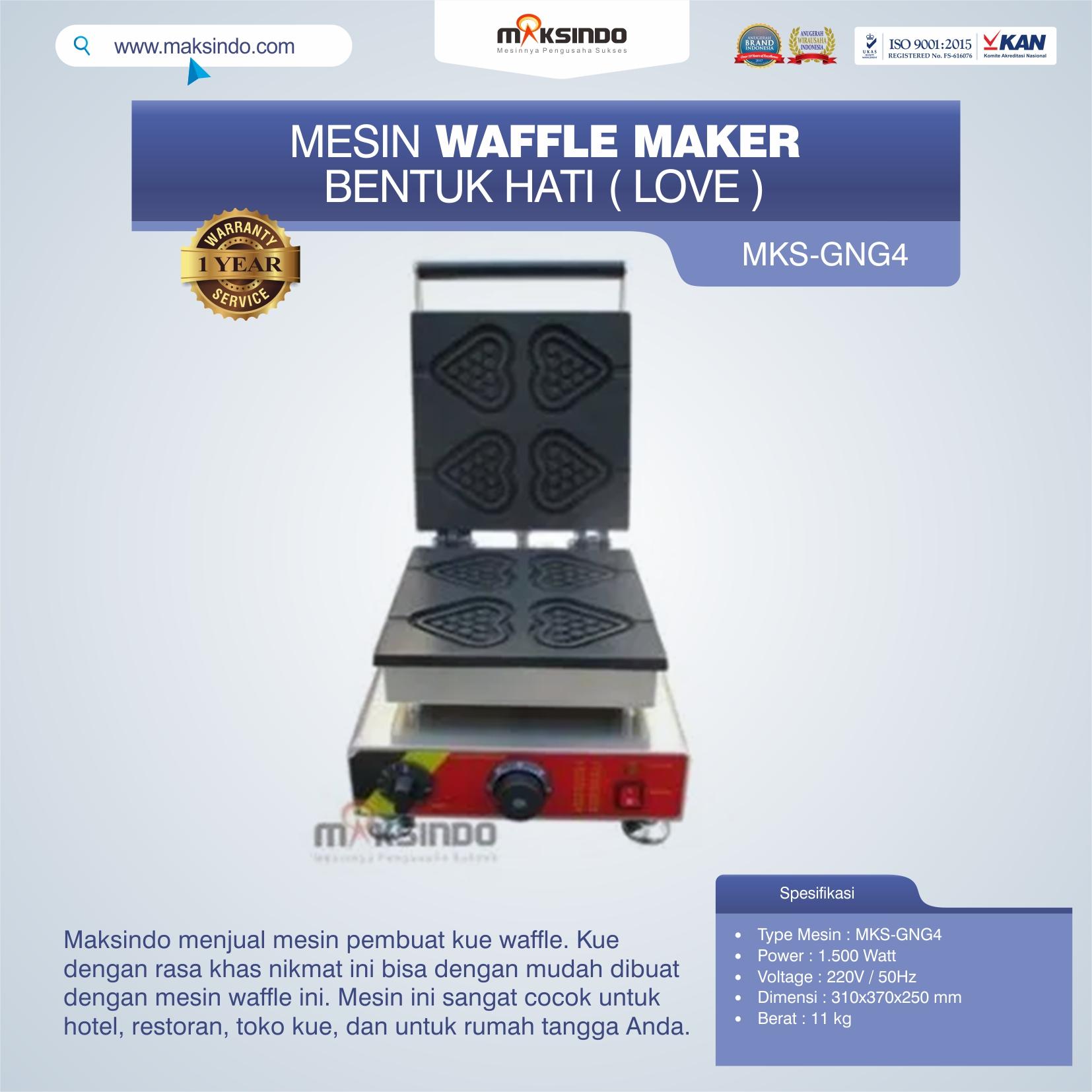 Jual Mesin Waffle Maker Bentuk Hati (Love) MKS-GNG4 di Mataram