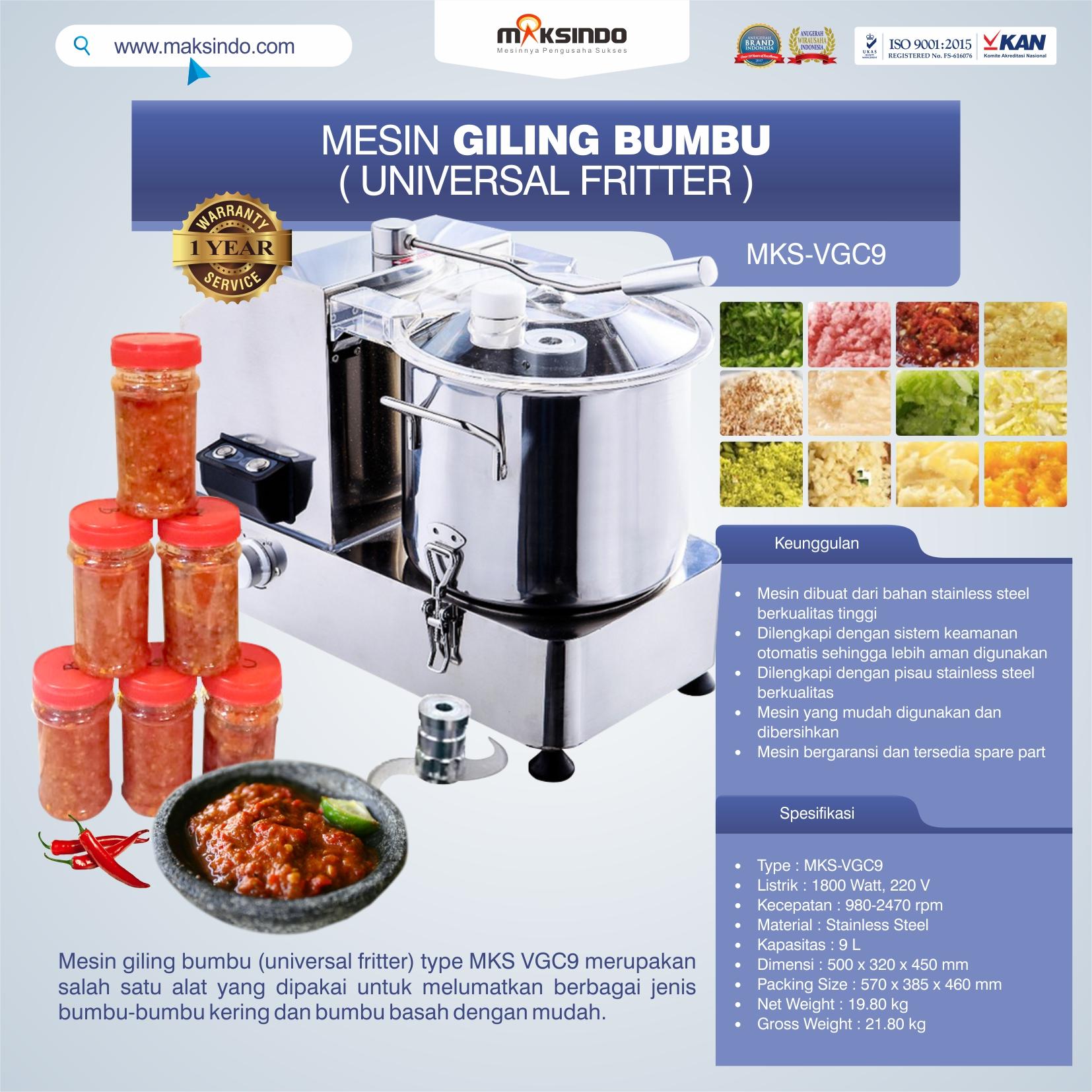 Jual Mesin Giling Bumbu (Universal Fritter) MKS VGC9 di Mataram