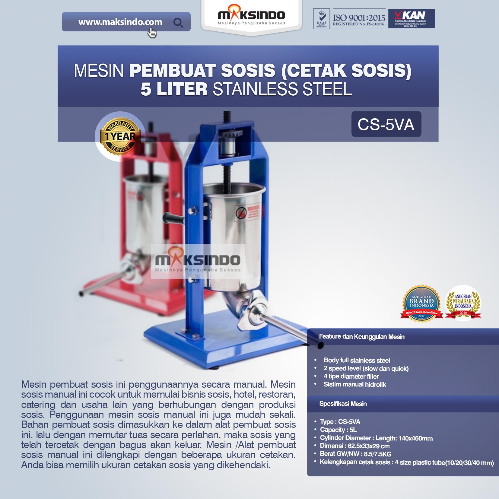 Jual Mesin Pembuat Sosis (Cetak Sosis) Stainless Steel di Mataram