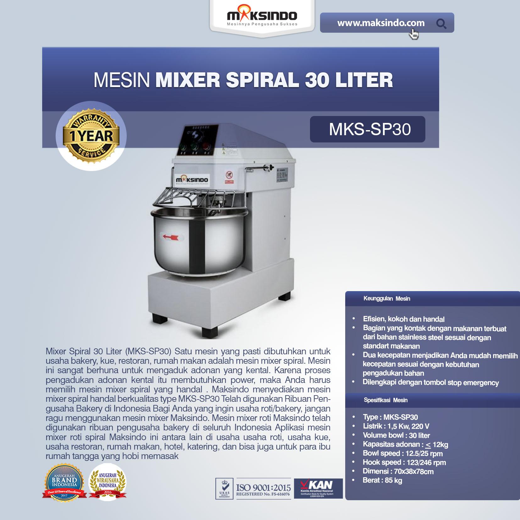 Jual Mixer Spiral 30 Liter (MKS-SP30) di Mataram
