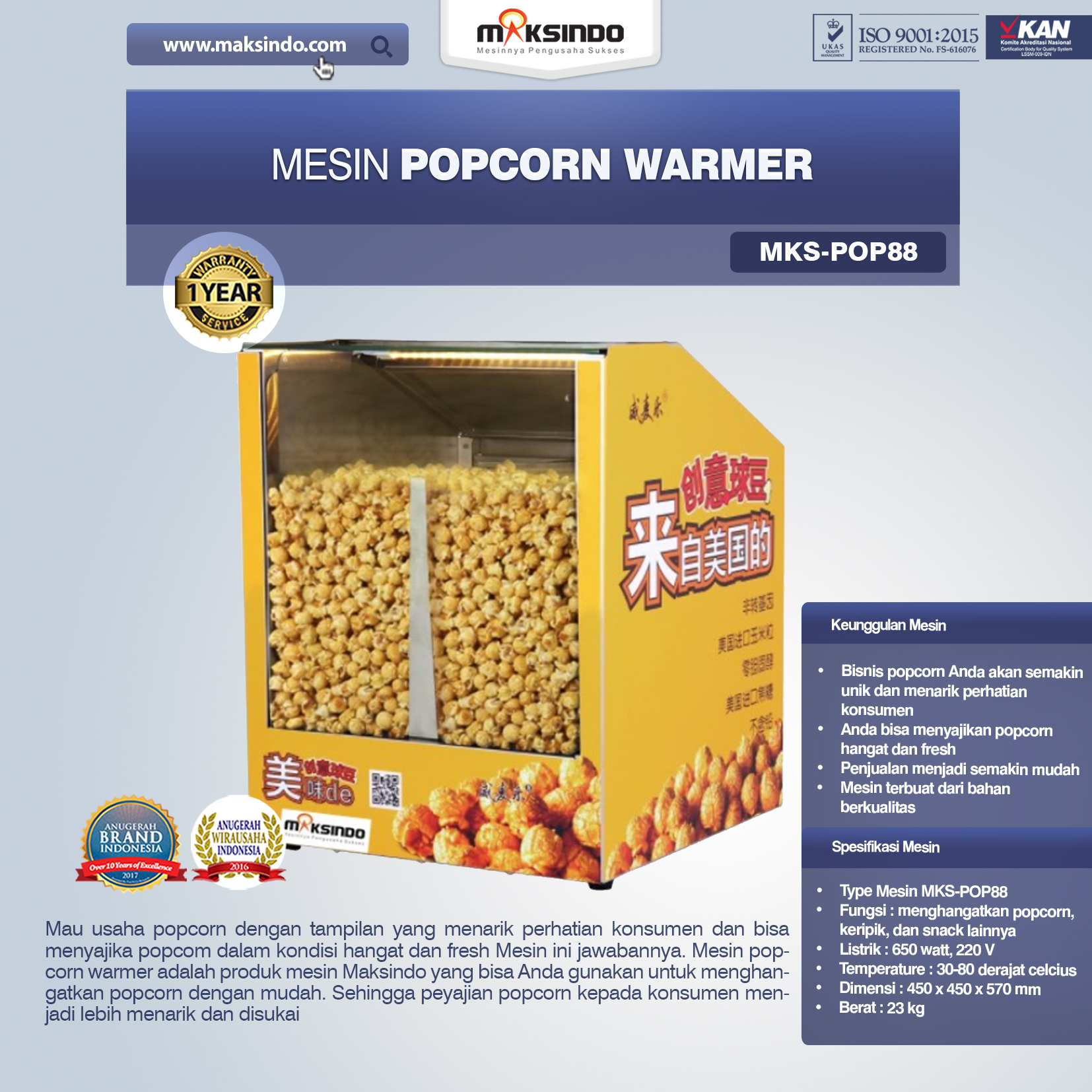 Jual Mesin Popcorn Warmer (POP88) di Mataram