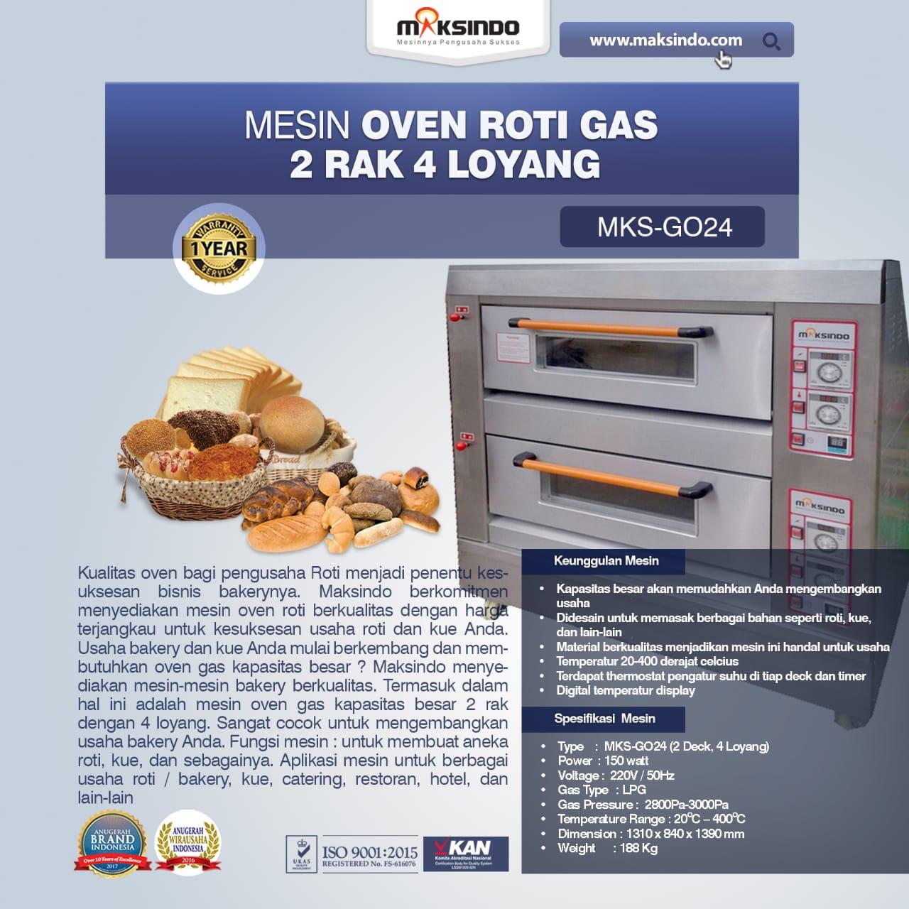 Jual Mesin Oven Roti Gas 2 Rak 4 Loyang (GO24) di Mataram