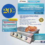 Jual Pemanggang Serbaguna Stainless Steel – Gas BBQ Grill 4 Tungku di Mataram