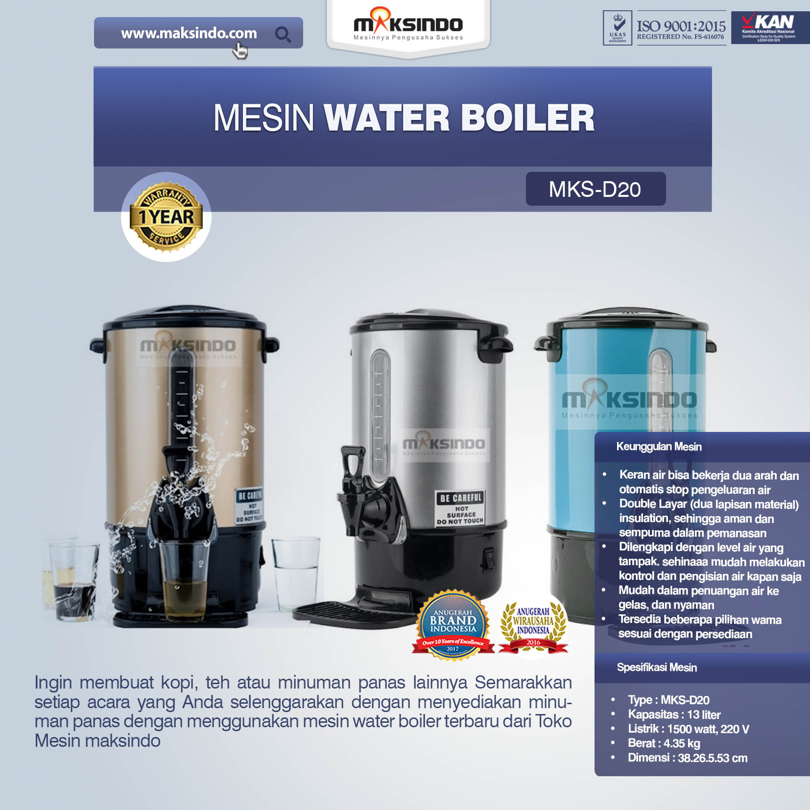 Jual Mesin Water Boiler (MKS-D20) di Mataram