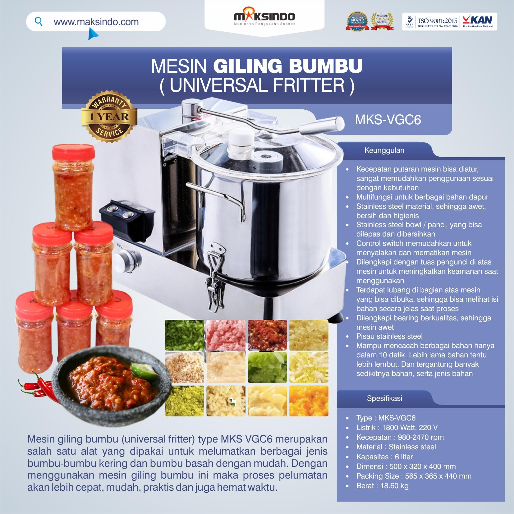 Jual Mesin Universal Fritter 6 liter (VGC6) di Mataram