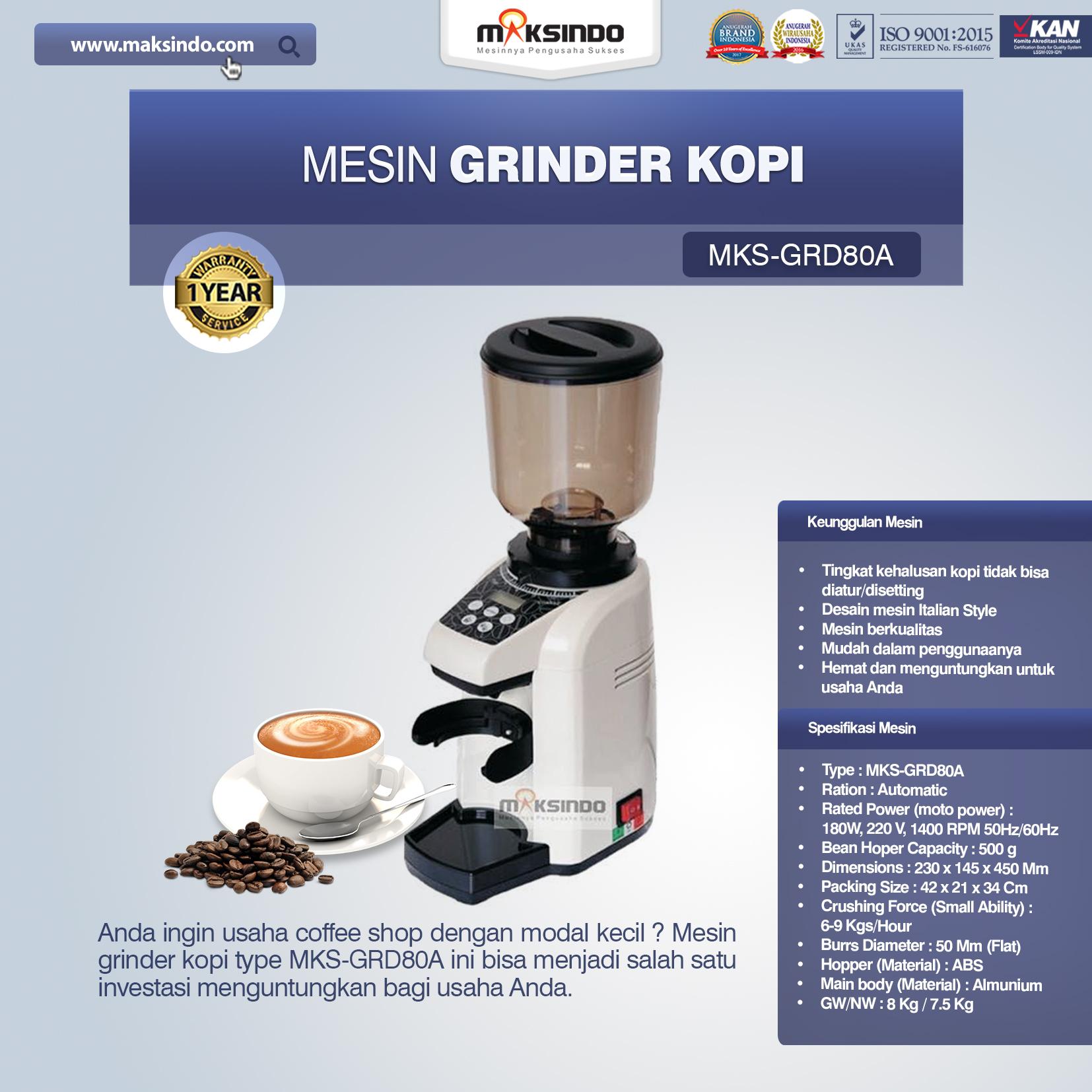 Jual Mesin Grinder Kopi (MKS-GRD80A) di Mataram