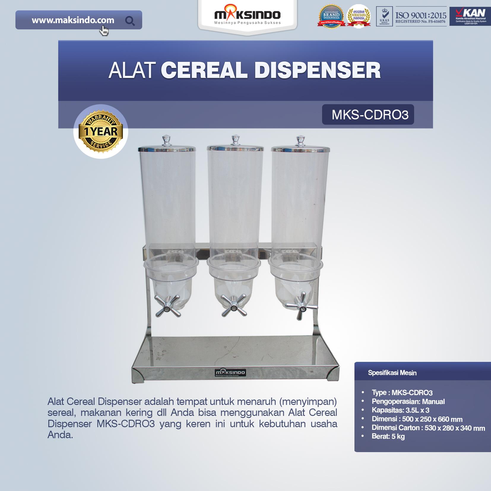 Jual Alat Cereal Dispenser MKS-CDR03 di Mataram