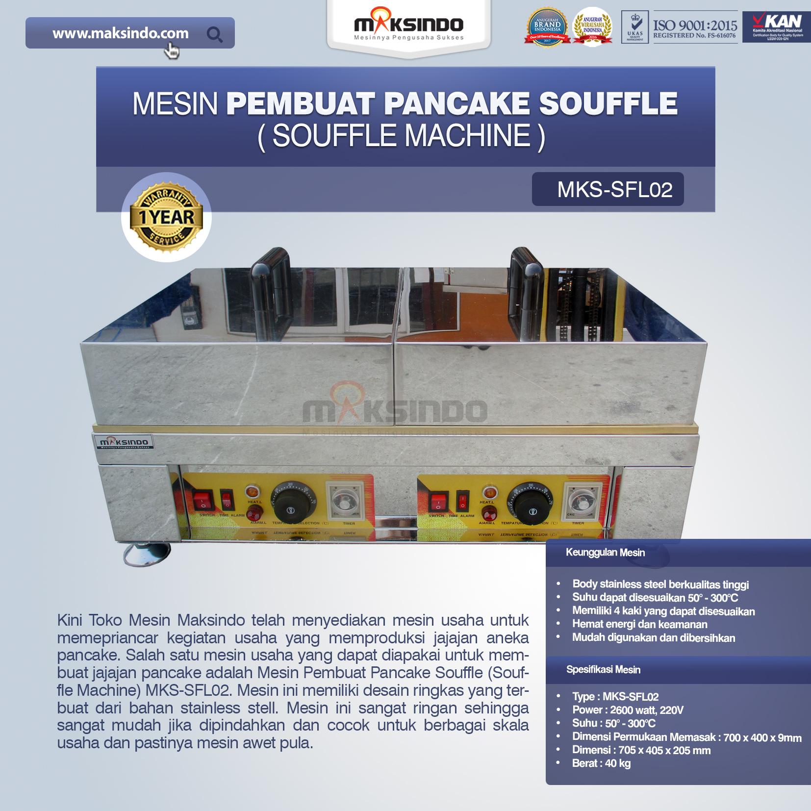 Jual Mesin Pembuat Pancake Souffle (Souffle Machine) MKS-SFL02 di Mataram