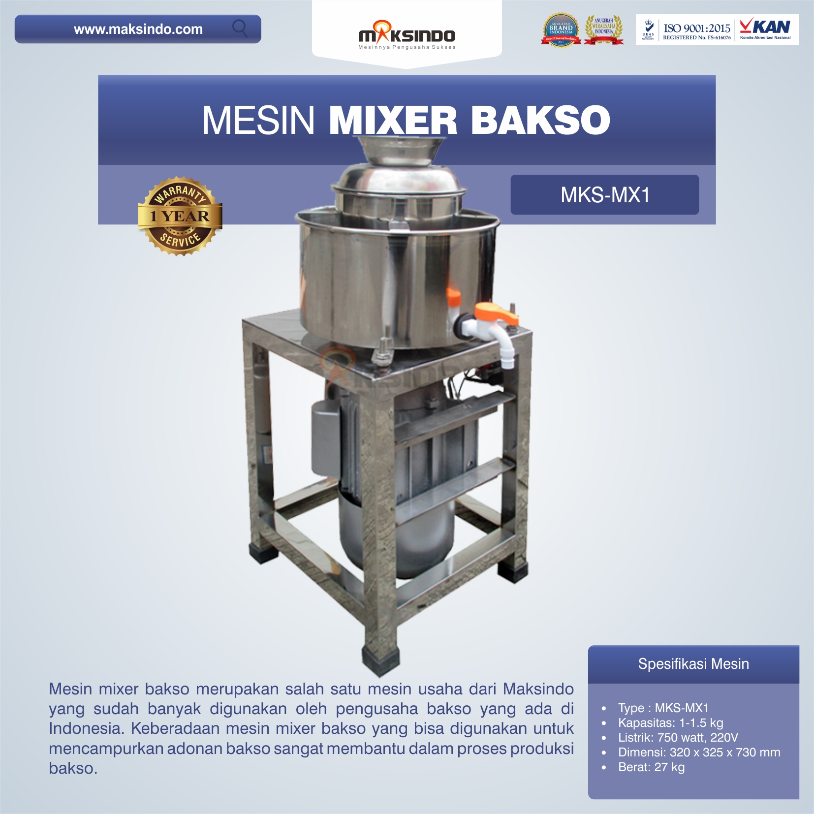 Jual Mesin Mixer Bakso MKS-MX1 di Mataram