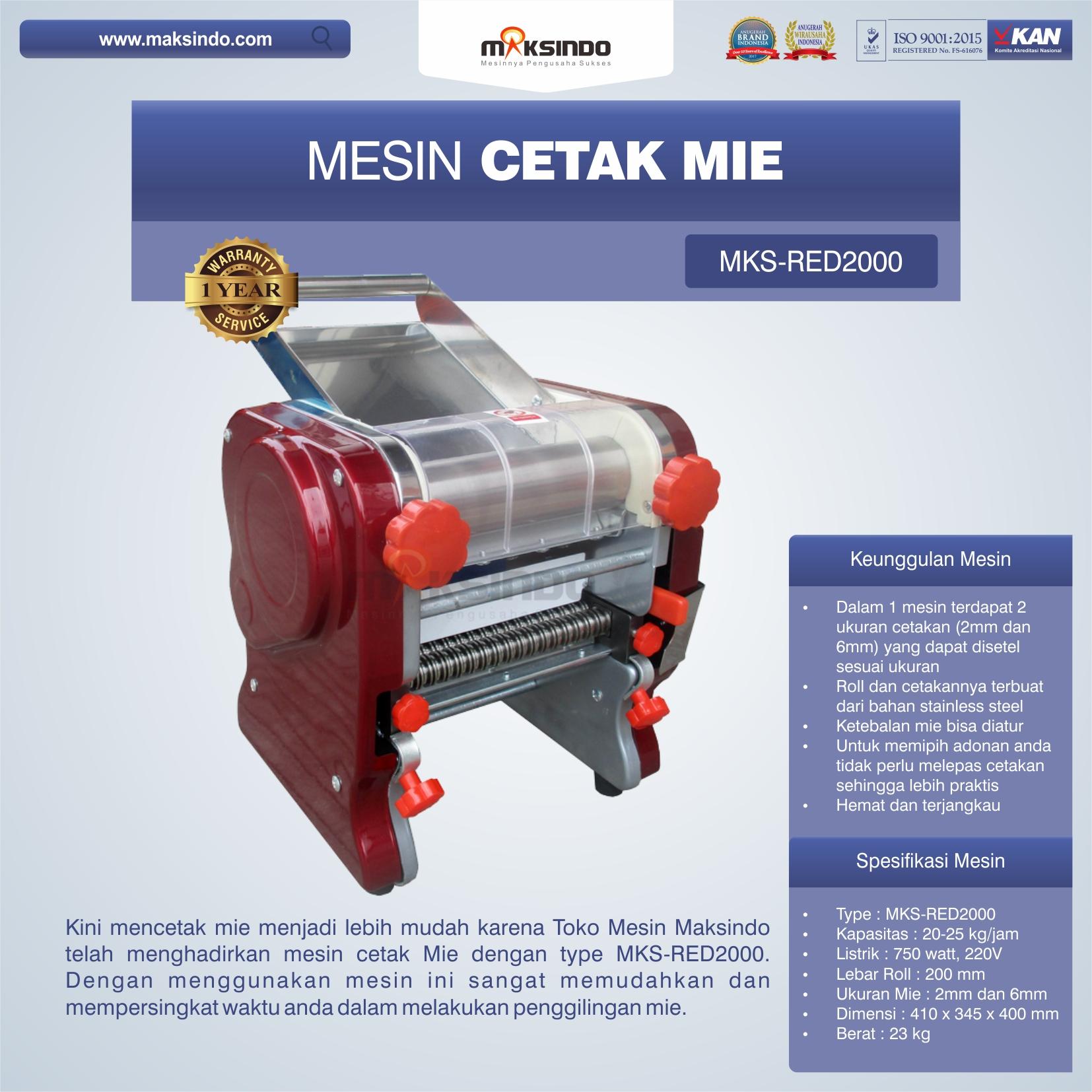 Jual Mesin Cetak Mie MKS-RED2000 di Mataram