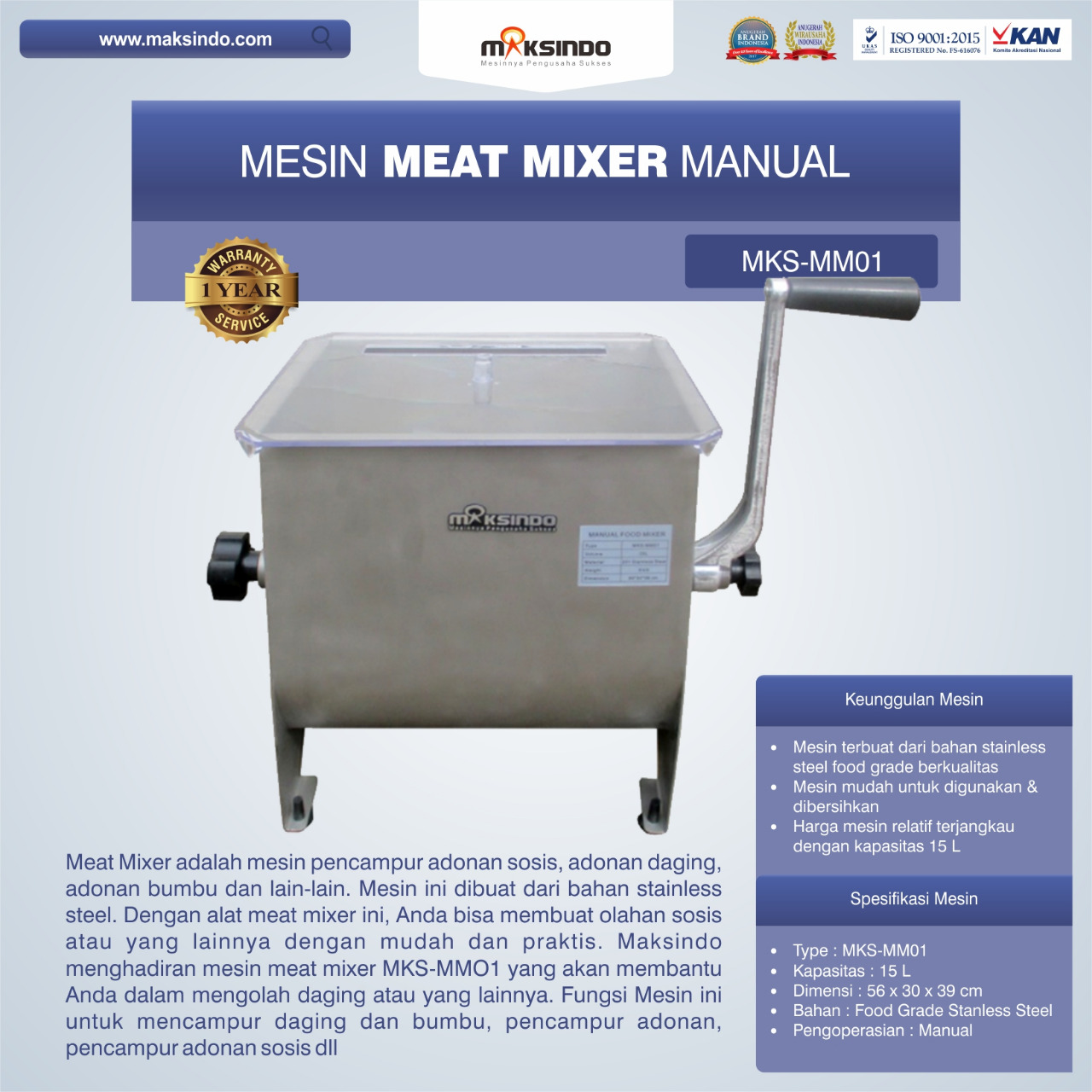 Jual Manual Meat Mixer MKS-MM01 di Mataram