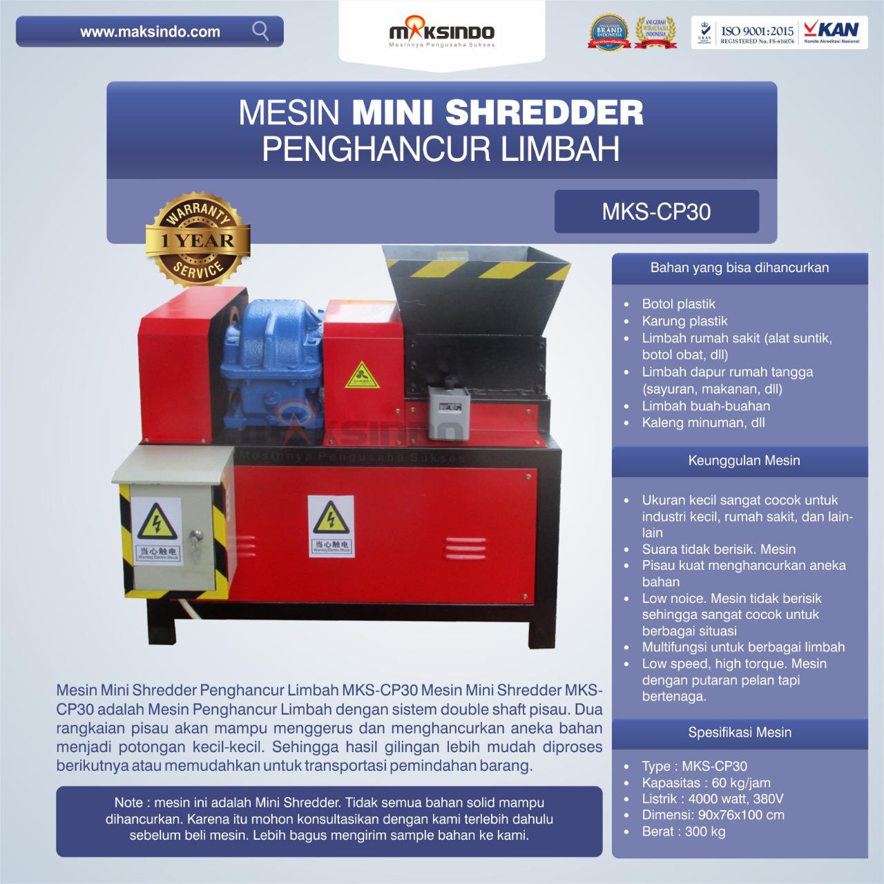 Jual Mesin Penghancur Plastik MKS-CP30 di Mataram