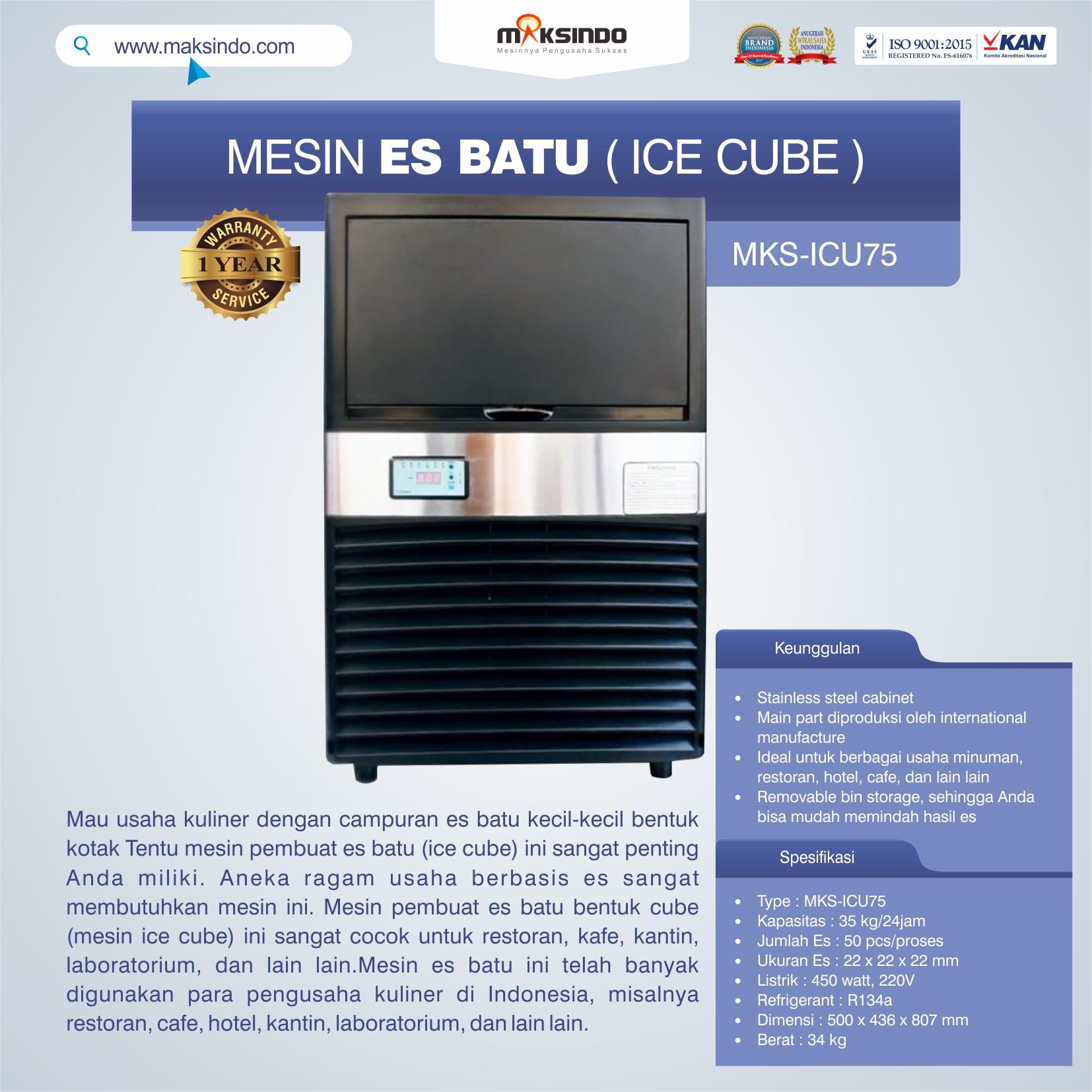 Jual Mesin Es Batu Ice Cube (ICU-75) di Mataram
