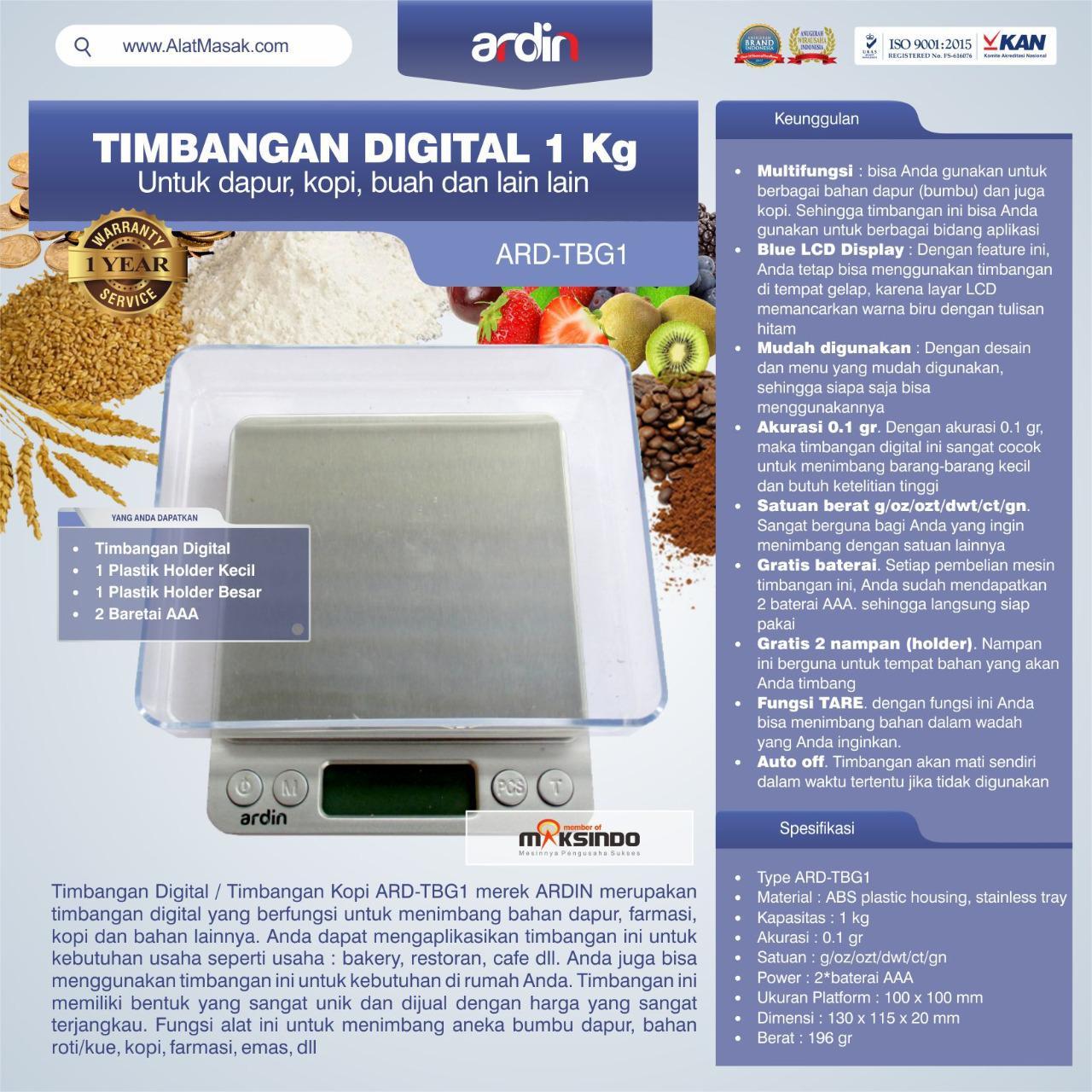 Jual Timbangan Digital Dapur 1 kg / Timbangan Kopi ARD-TBG1 di Mataram