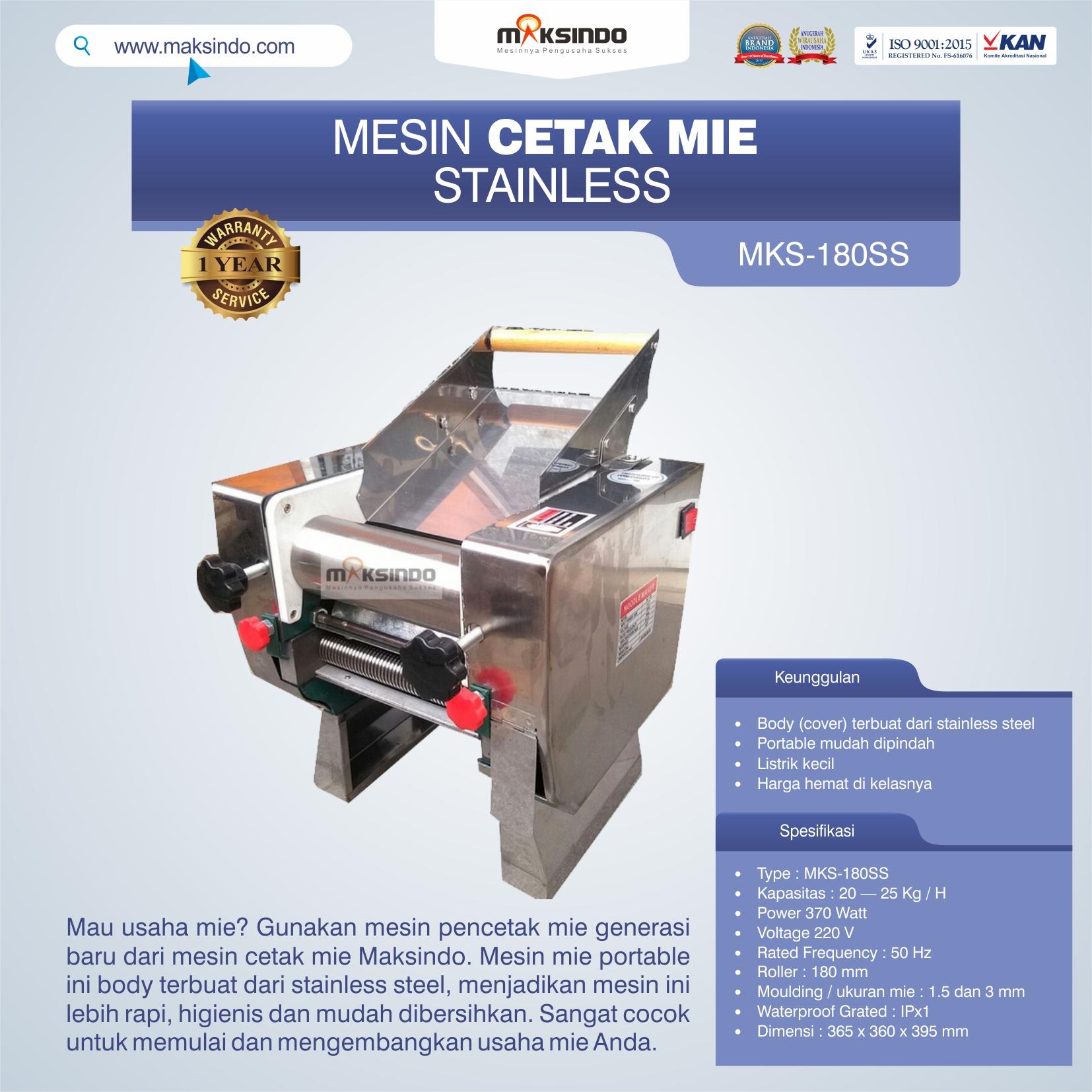 Jual Mesin Cetak Mie Stainless (MKS-180SS) di Mataram