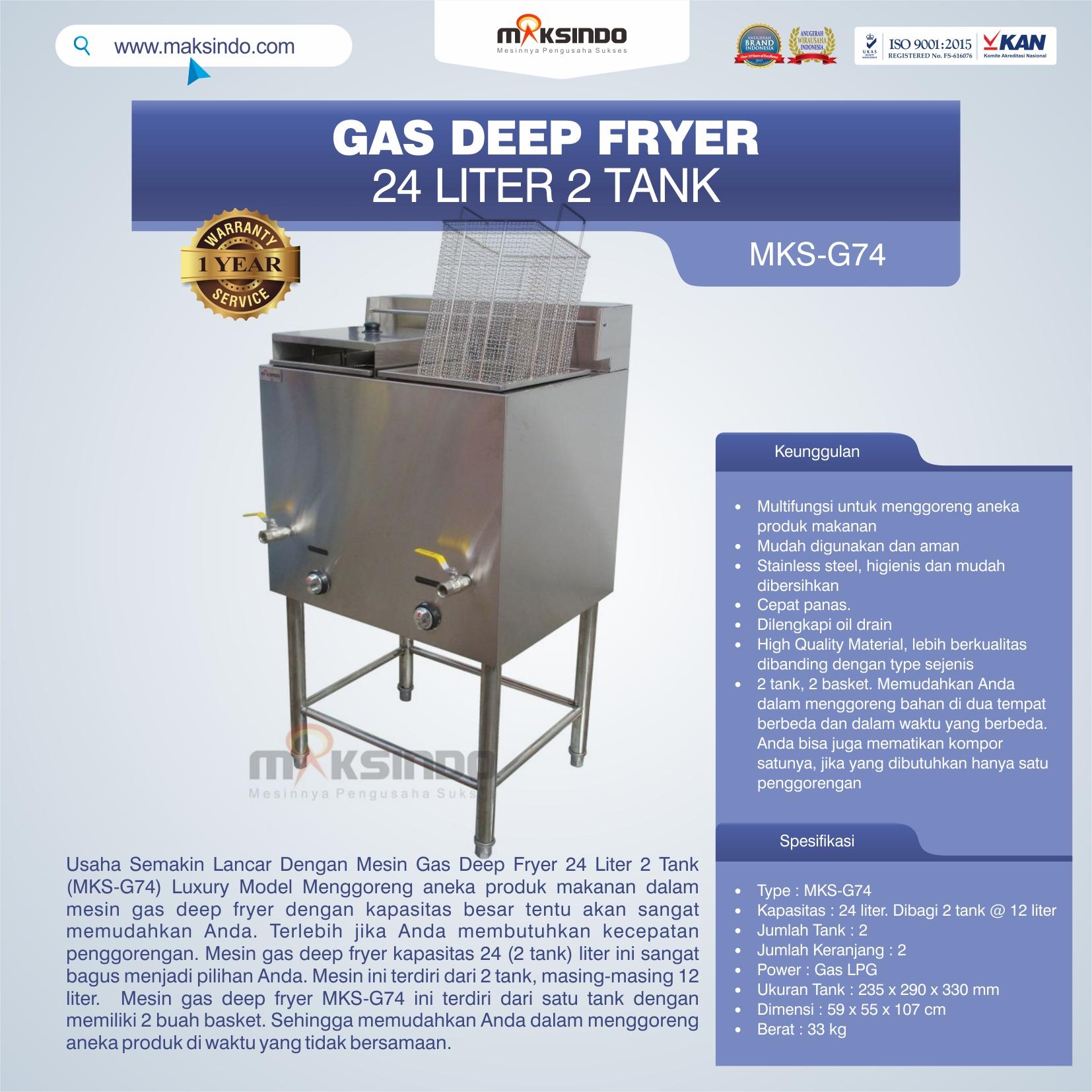 Jual Gas Deep Fryer 24 Liter 2 Tank (G74) di Mataram