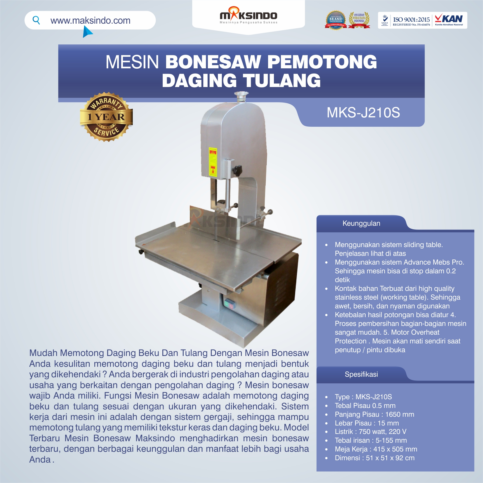 Jual Mesin Bonesaw Pemotong Daging Tulang (MKS-J210S) di Mataram