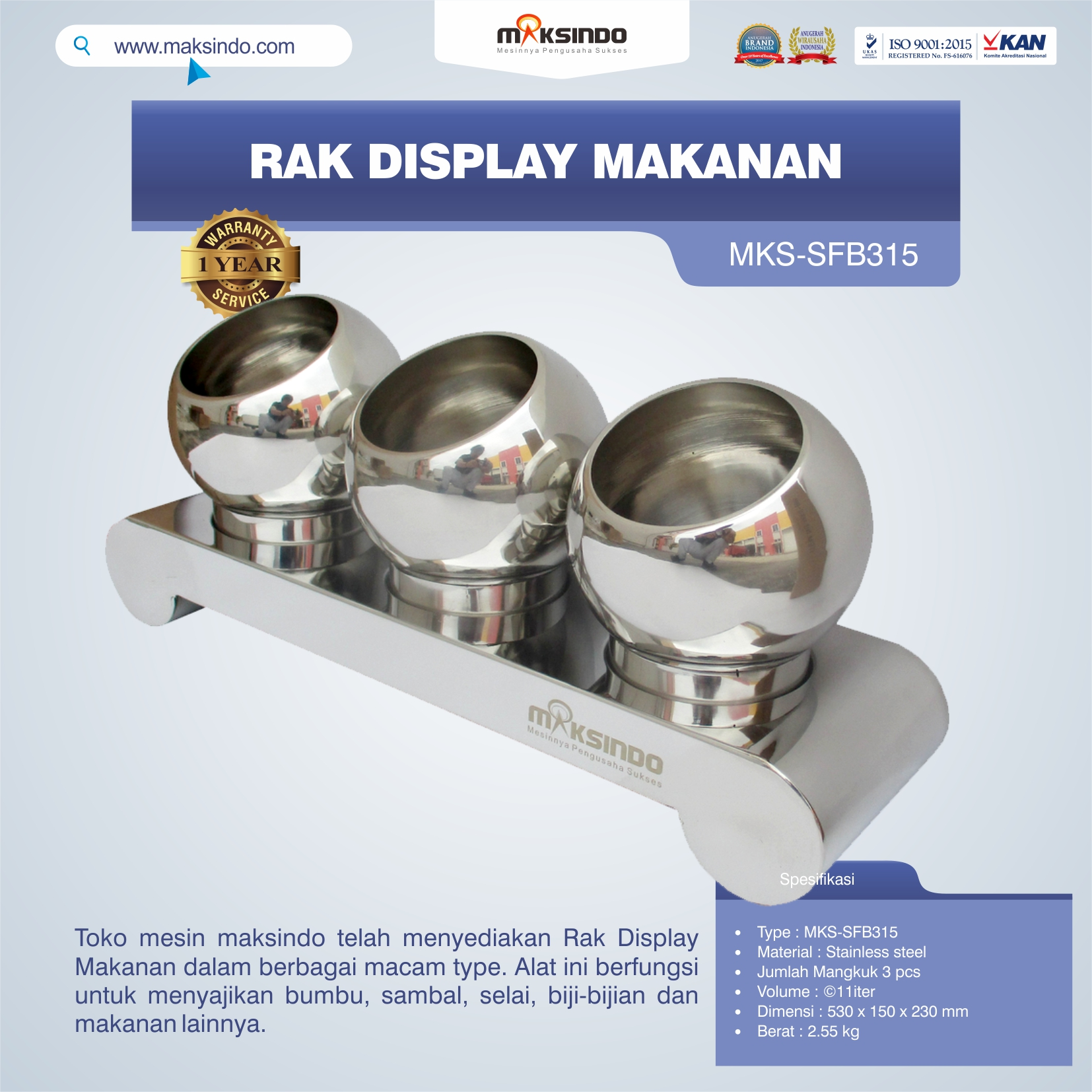 Jual Rak Display Makanan MKS-SFB315 di Mataram