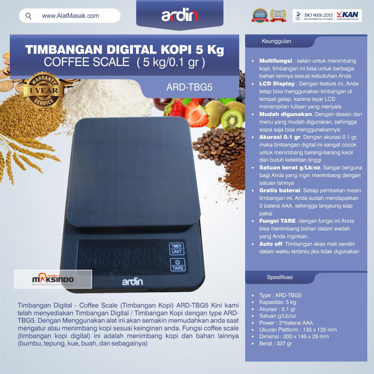 Jual Timbangan Digital Kopi 5 kg ARD-TBG5 (coffee scale) di Mataram