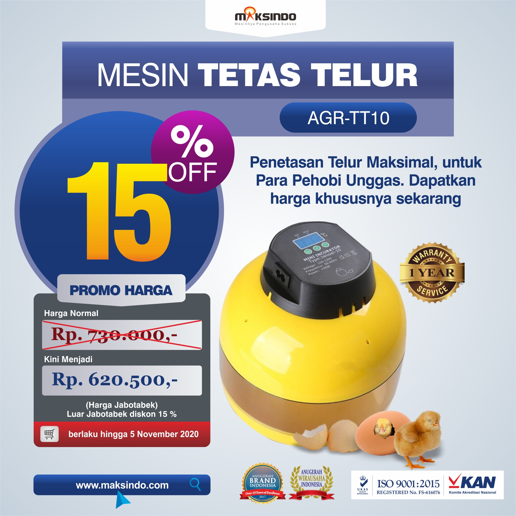 Jual Mesin Tetas Telur 10 Butir (AGR-TT-10) di Mataram