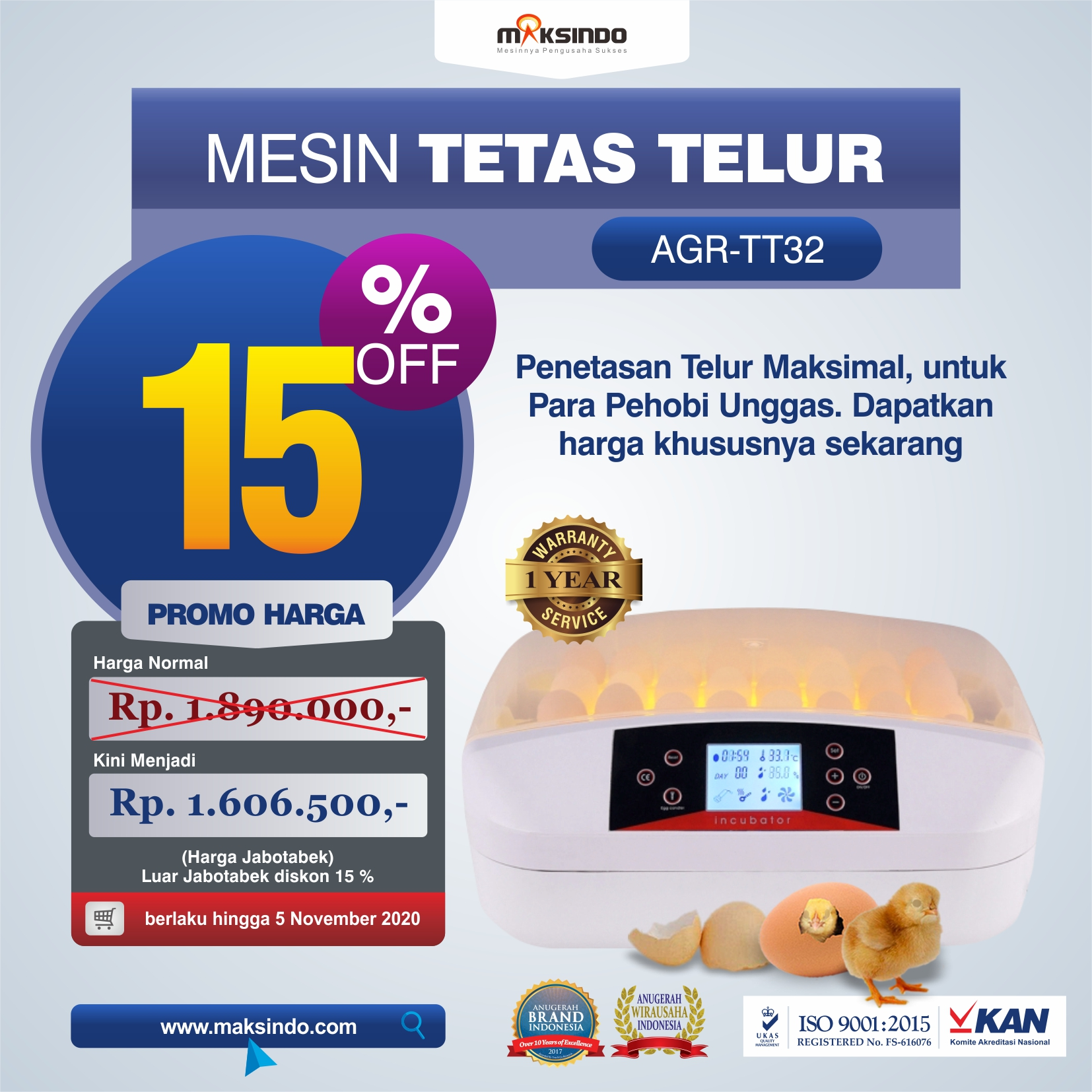 Jual Mesin Penetas Telur 32 Butir (AGR-TT32) di Mataram