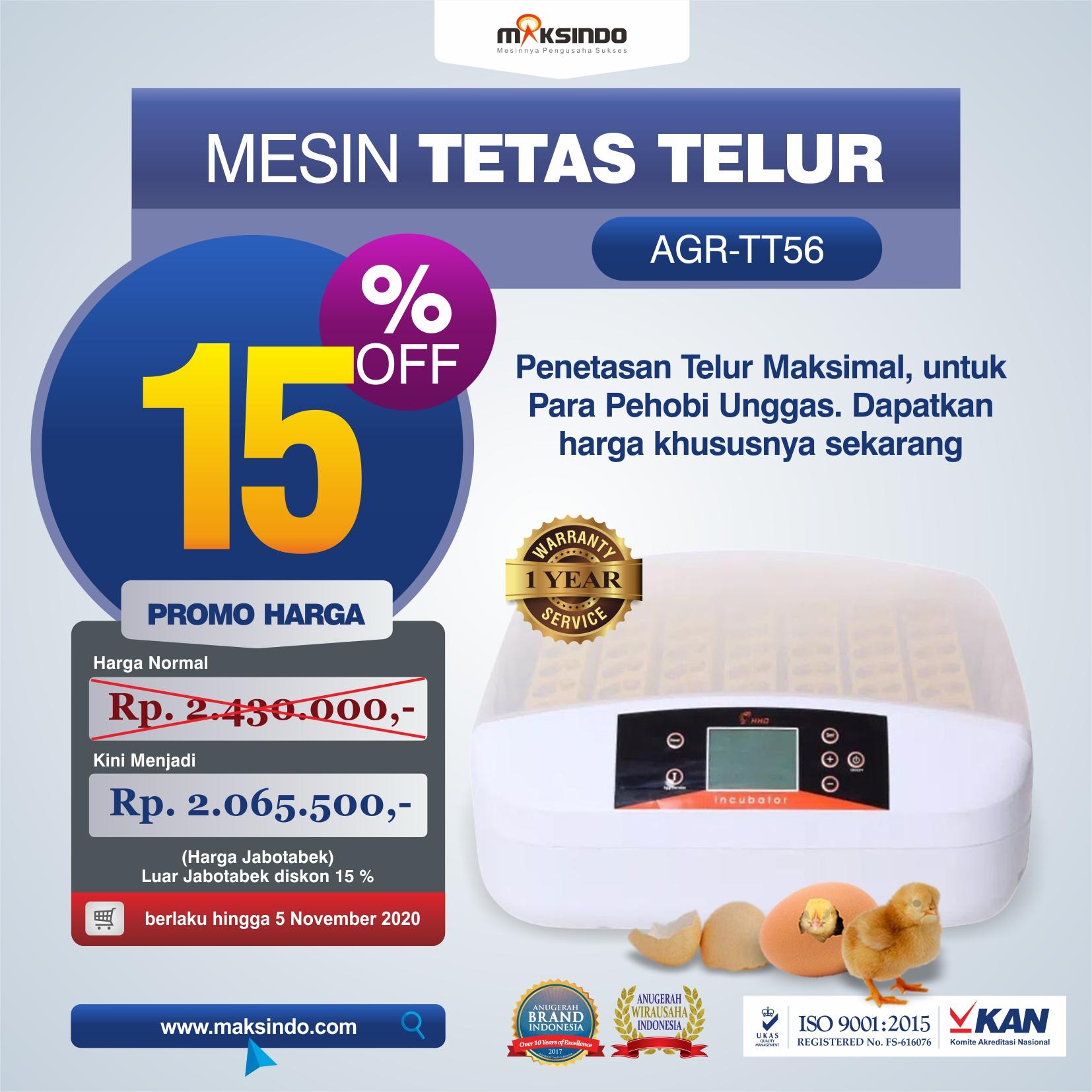 Jual Mesin Penetas Telur 56 Butir (AGR-TT56) di Mataram