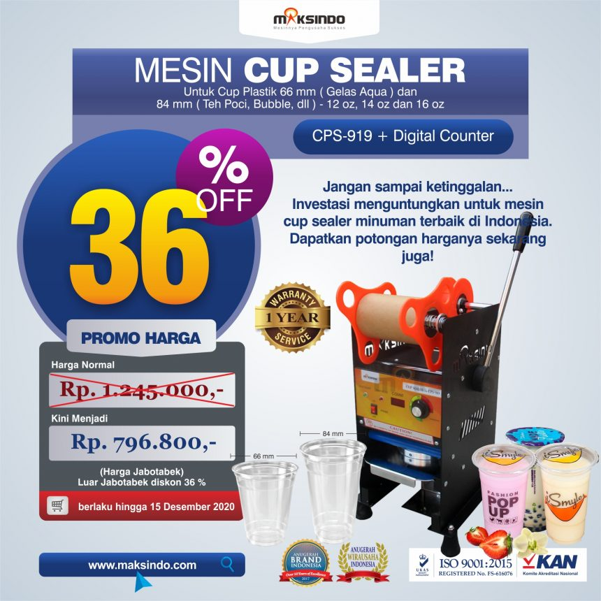 Jual Cup Sealer Manual plus Counter (CPS-919) di Mataram