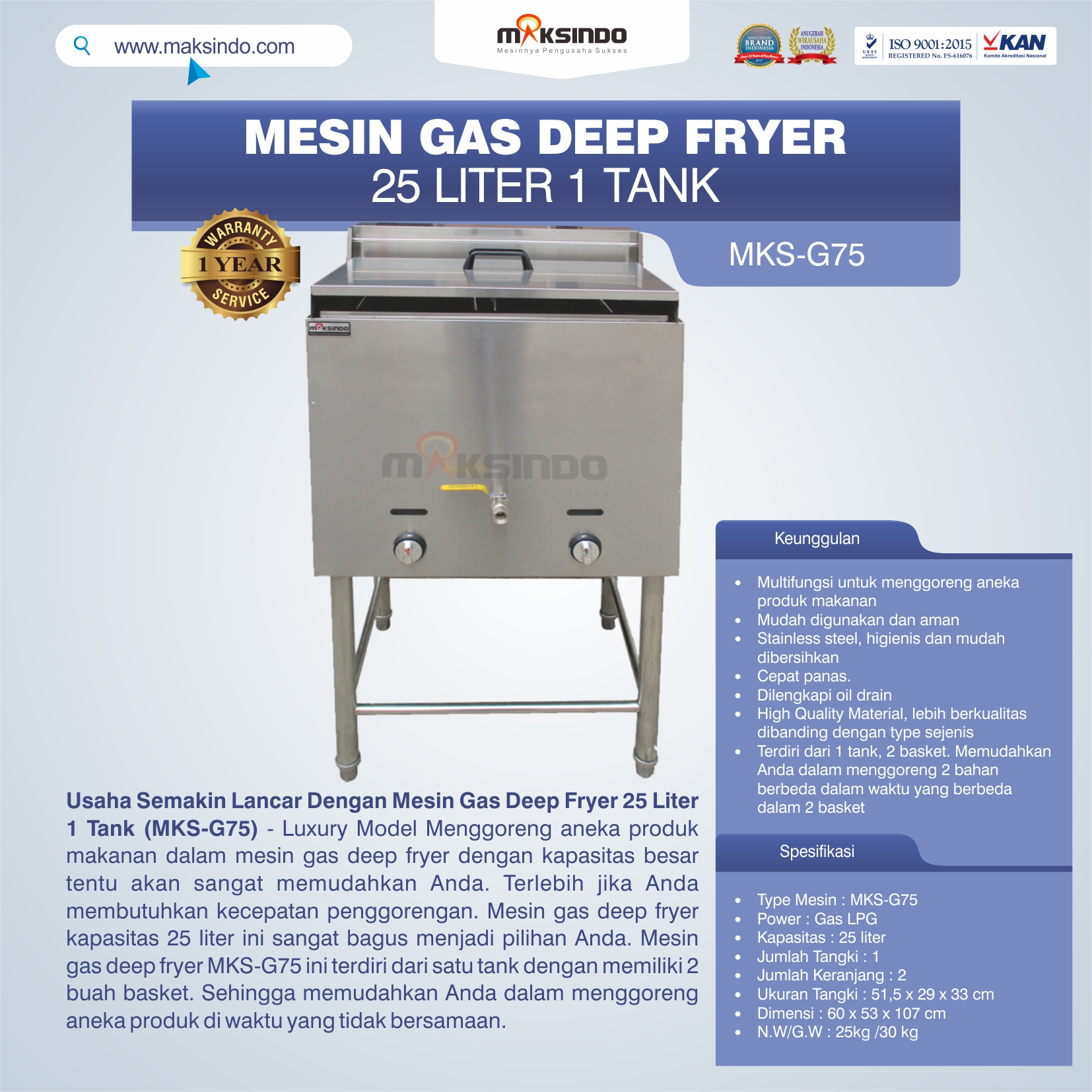 Jual Gas Deep Fryer 25 Liter 1 Tank (G75) di Mataram