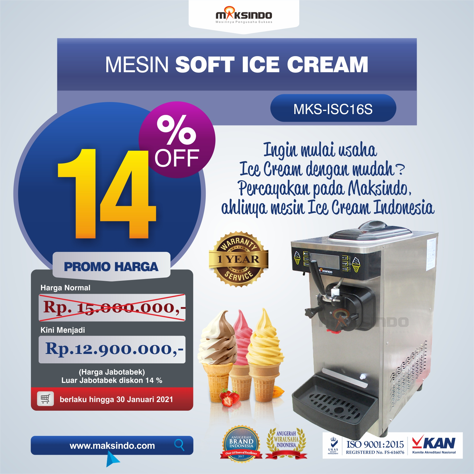 Jual Mesin Soft Ice Cream ISC-16S di Mataram