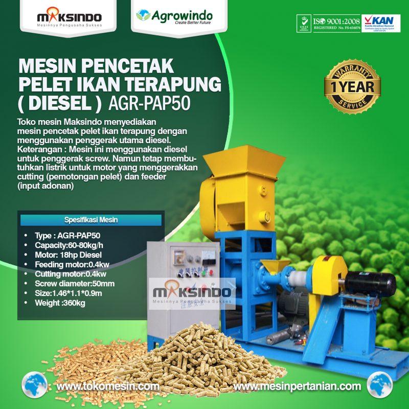 Jual Mesin Pelet Ikan Terapung (diesel) AGR-PAP50 di Mataram