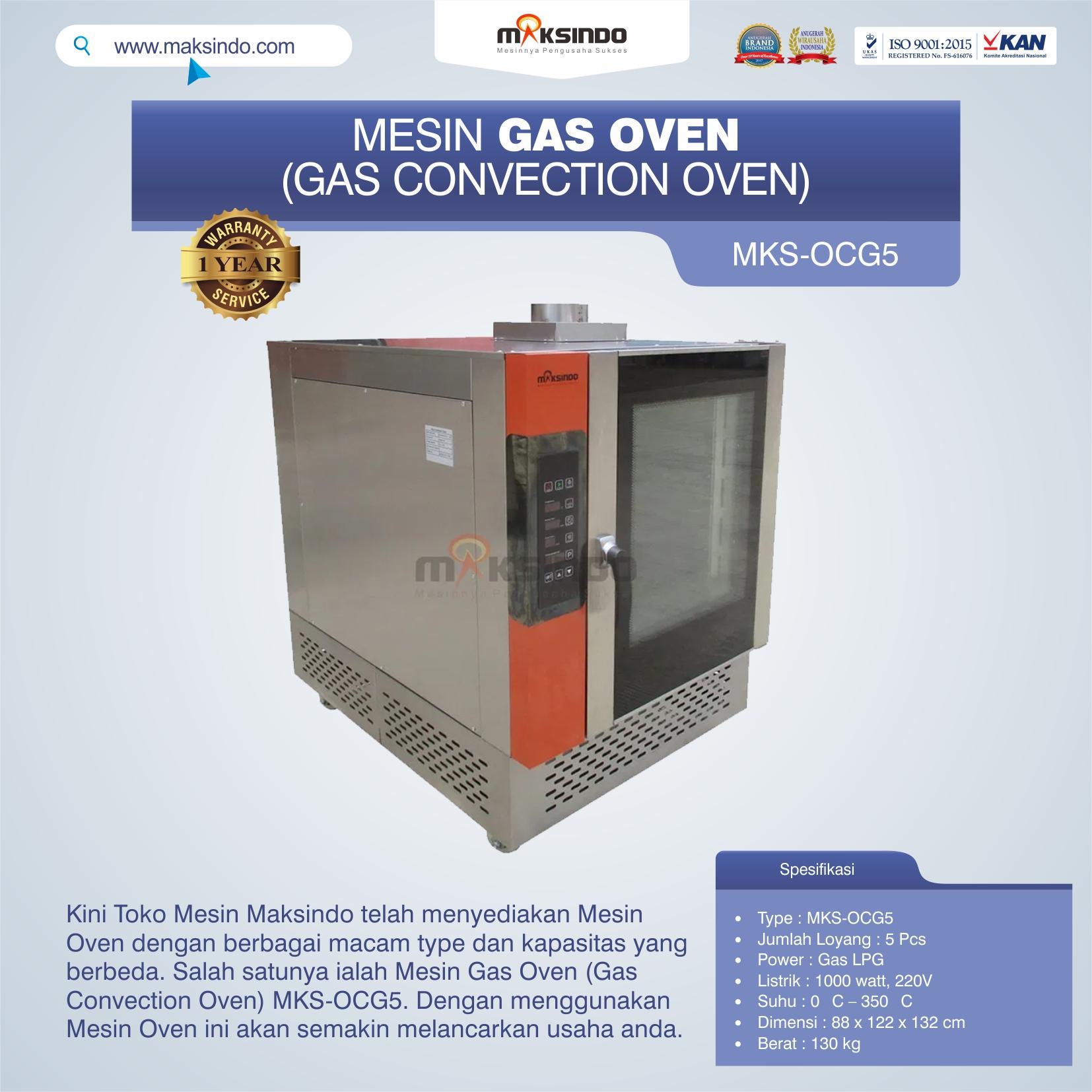 Jual Mesin Gas Oven (Gas Convection Oven) MKS-OCG5 di Mataram